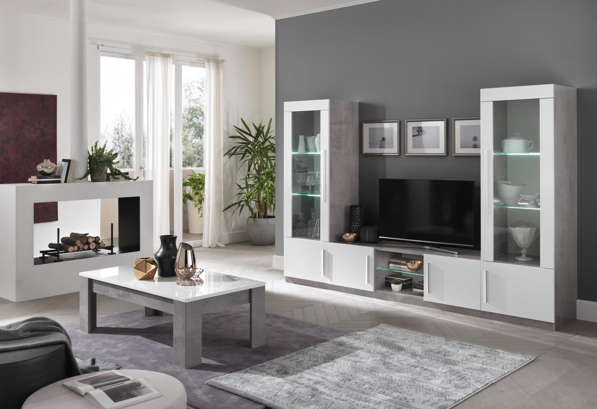 Greta woonkamer wit marble hoogglans woonkamers elit for Voordelige meubels