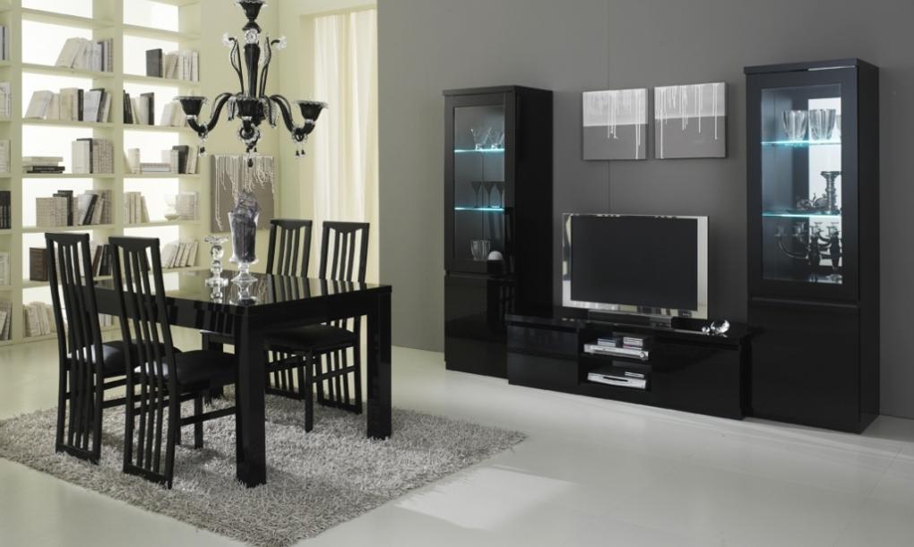 Roma woonkamer zwart hoogglans woonkamers elit meubel voordelige meubelen bankstellen - Woonkamer in zwart ...