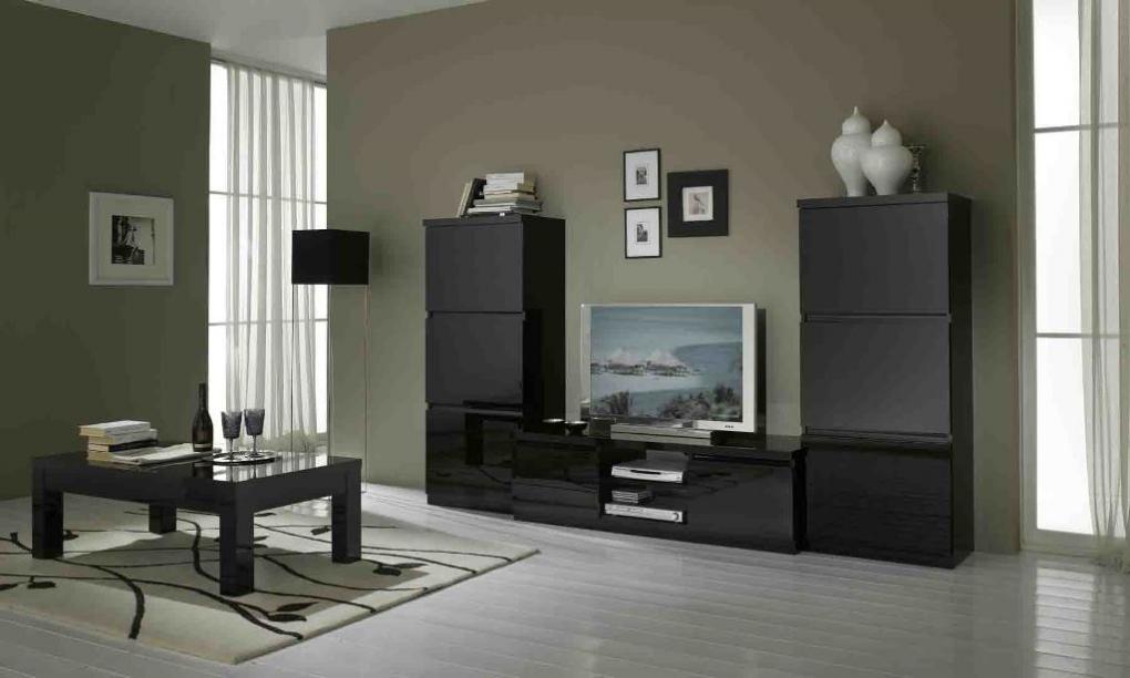 Kast Woonkamer Zwart : Roma woonkamer zwart hoogglans woonkamers elit meubel