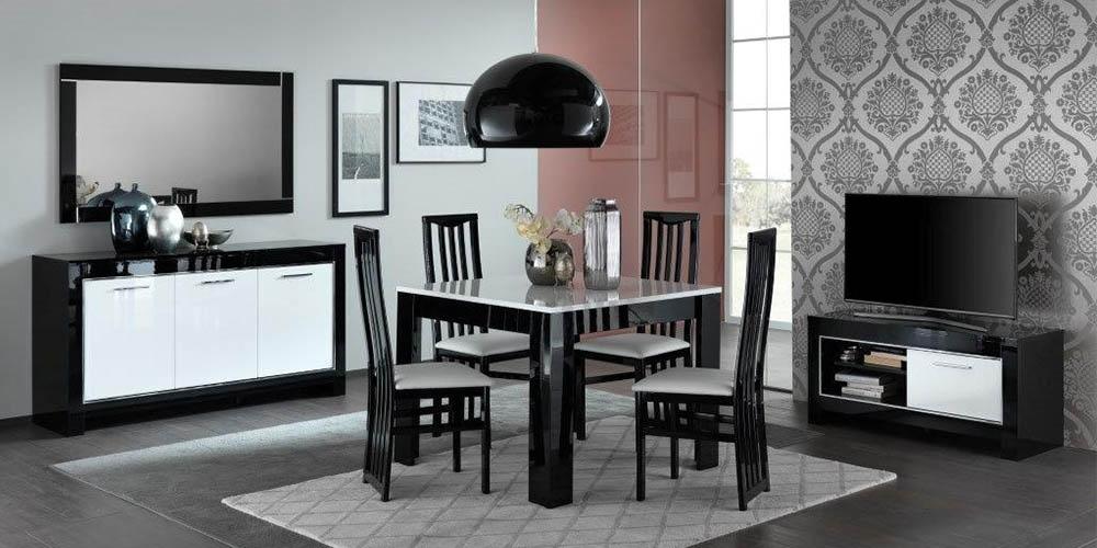 Modena woonkamer zwart wit hoogglans woonkamers elit for Voordelige meubels